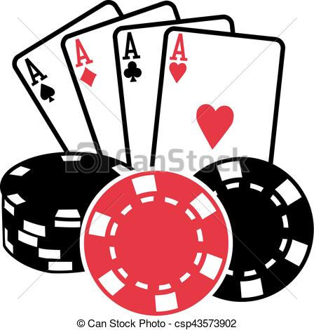448x470 Four Aces Playing Cards With Coins Poker.