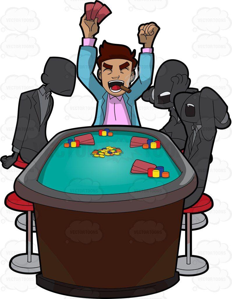 797x1024 A Man Celebrates Winning A Poker Game Poker Games