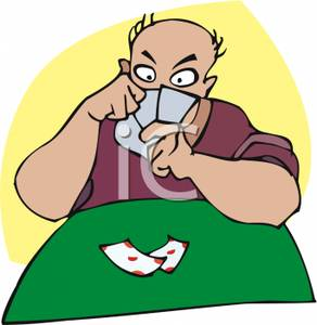 292x300 A Man Playing Poker Clipart Image