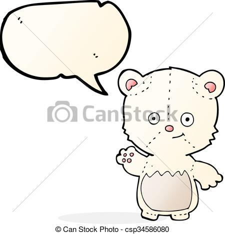 450x468 Cartoon Polar Bear Cub Waving With Speech Bubble Vector