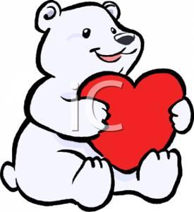 275x300 Clip Art Image A Polar Bear Cub Holding A Red Heart