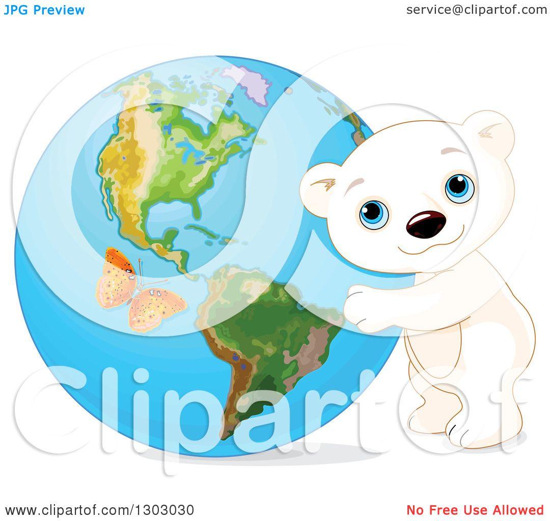 1080x1024 Clipart Of A Cute Polar Bear Cub Hugging Planet Earth,