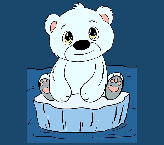 678x600 How To Draw A Polar Bear Cub In A Few Easy Steps Easydrawingguides