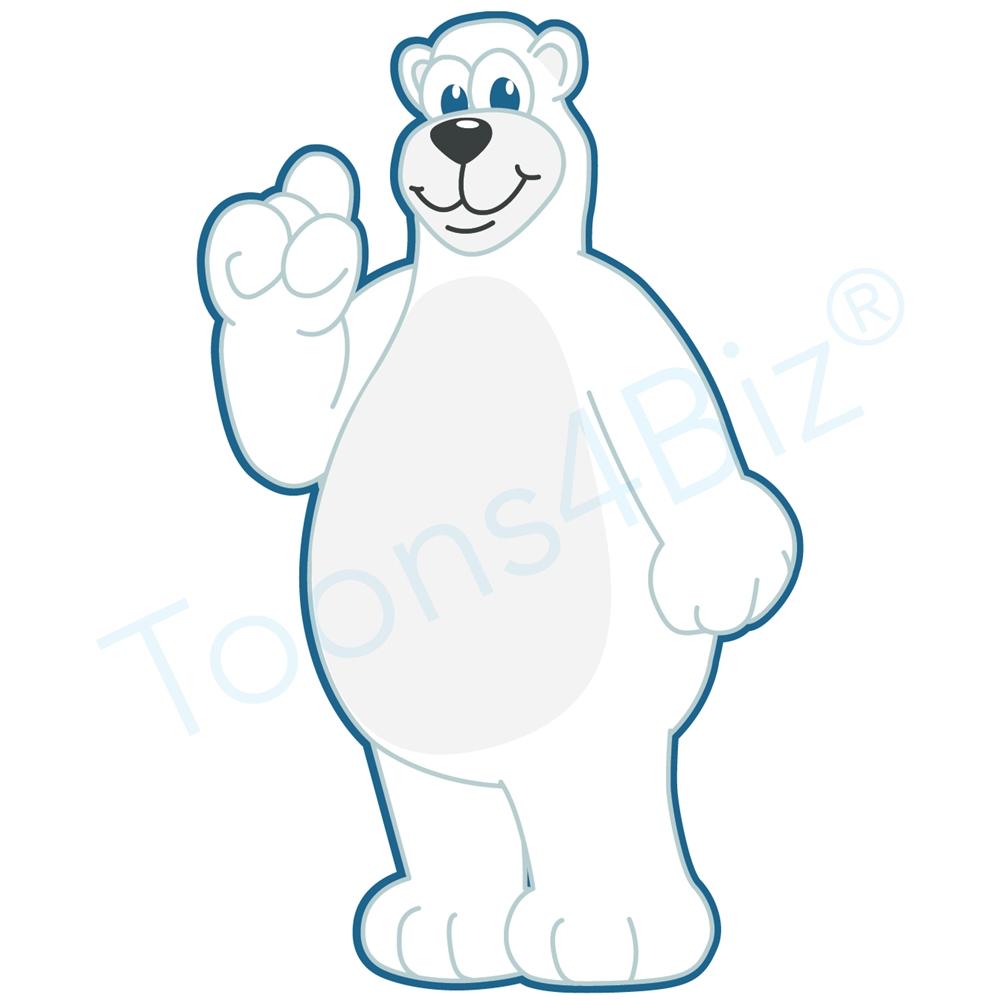 1000x1000 Polar Bear Mascot Pointing Up
