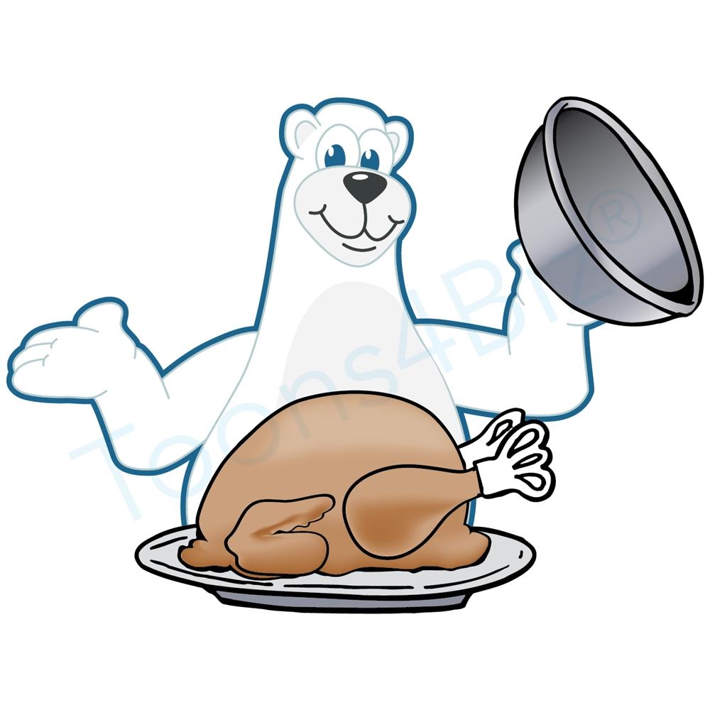 1000x1000 Polar Bear Mascot With Thanksgiving Turkey Clip Art