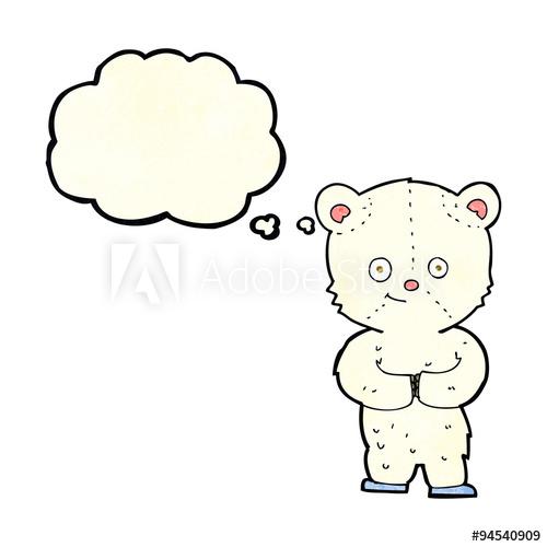 500x500 Cartoon Teddy Polar Bear Cub With Thought Bubble