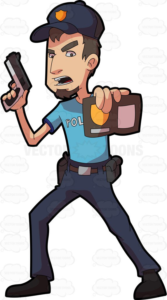 572x1024 A Policeman Showing His Badge Cartoon Clipart Vector Toons
