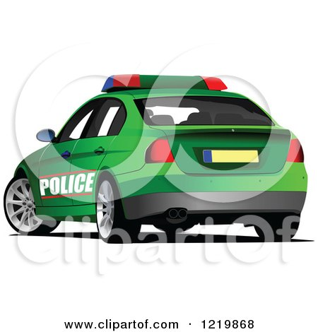 450x470 Clipart Of A Green Police Car