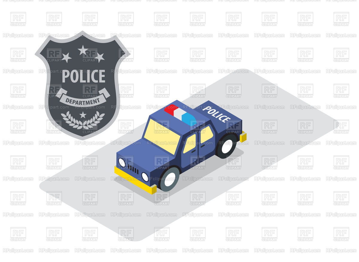 1200x877 Police Badge And Car In Isometric View Royalty Free Vector Clip