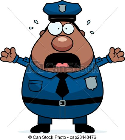 419x470 Scared Police. A Cartoon Illustration Of An Police Officer