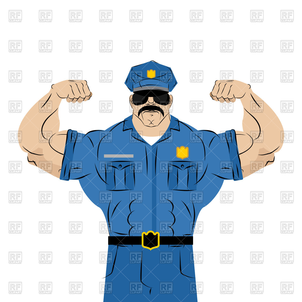 1200x1200 Strong Police Officer Royalty Free Vector Clip Art Image