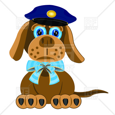 400x400 Dog With Blue Bow On Neck And Police Cap Free Download Vector Clip