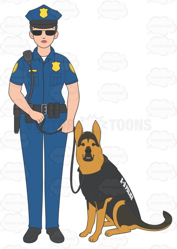 569x800 Female Police Officer Standing With Her K9 Cartoon Clipart