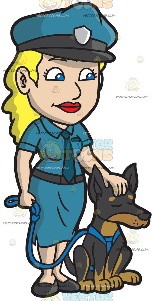 519x1024 A Female Police Officer Petting Her Dog Cartoon Clipart Vector Toons