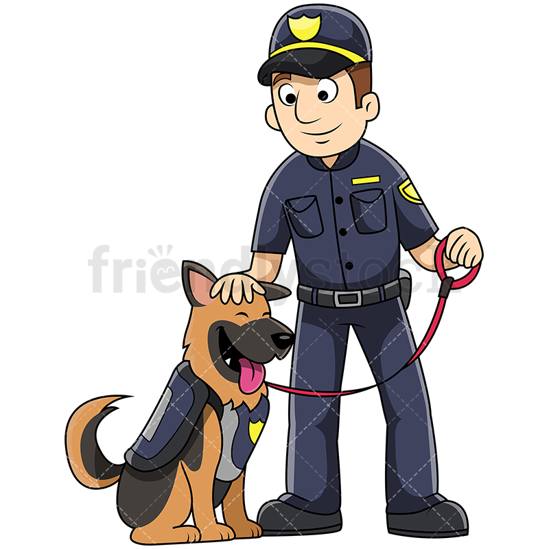 800x800 K9 Male Police Officer Petting Dog Vector Cartoon Clipart