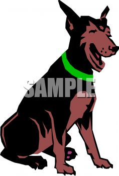 237x350 Picture Of A Doberman Pinscher Sitting Down In A Vector Clip Art