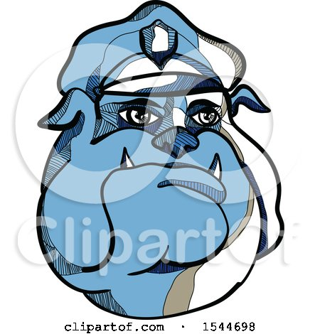 450x470 Clipart Of A Sketched Blue Bulldog Police Man Wearing A Hat
