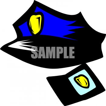 350x349 Cop Hat And Badge