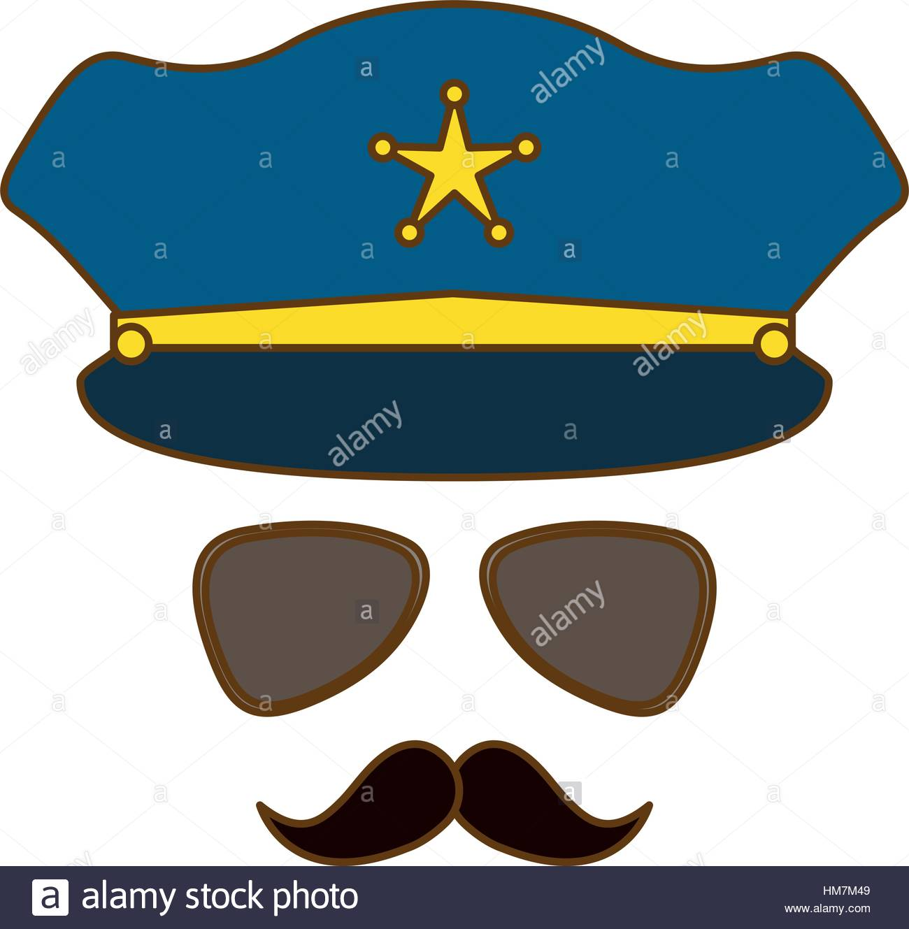 1300x1329 Blue Hat, Glasses And Mustache Police Icon Vector Illustration