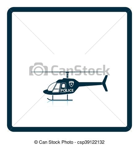 450x470 Police Helicopter Icon. Shadow Reflection Design. Vector