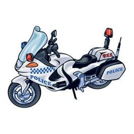 265x265 Police Motorcycle Temporary Tattoo Honors Your Protectors