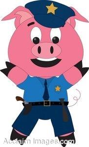 182x300 Clip Art Of A Cartoon Pig Wearing Police Uniform