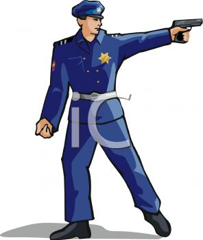 296x350 Picture Of A Policeman Pointing His Gun In A Vector Clip Art