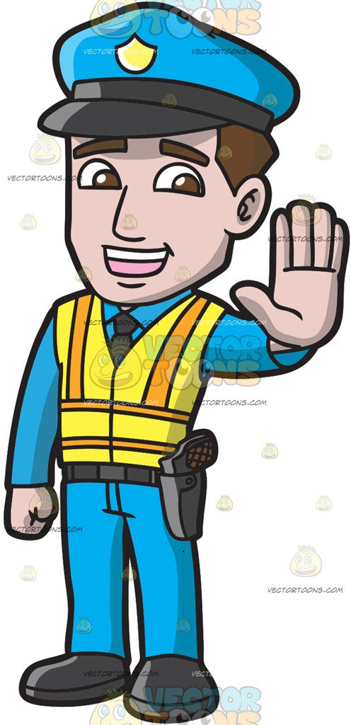 496x1024 A Police Officer Directing Traffic Cartoon Clipart Vector Toons