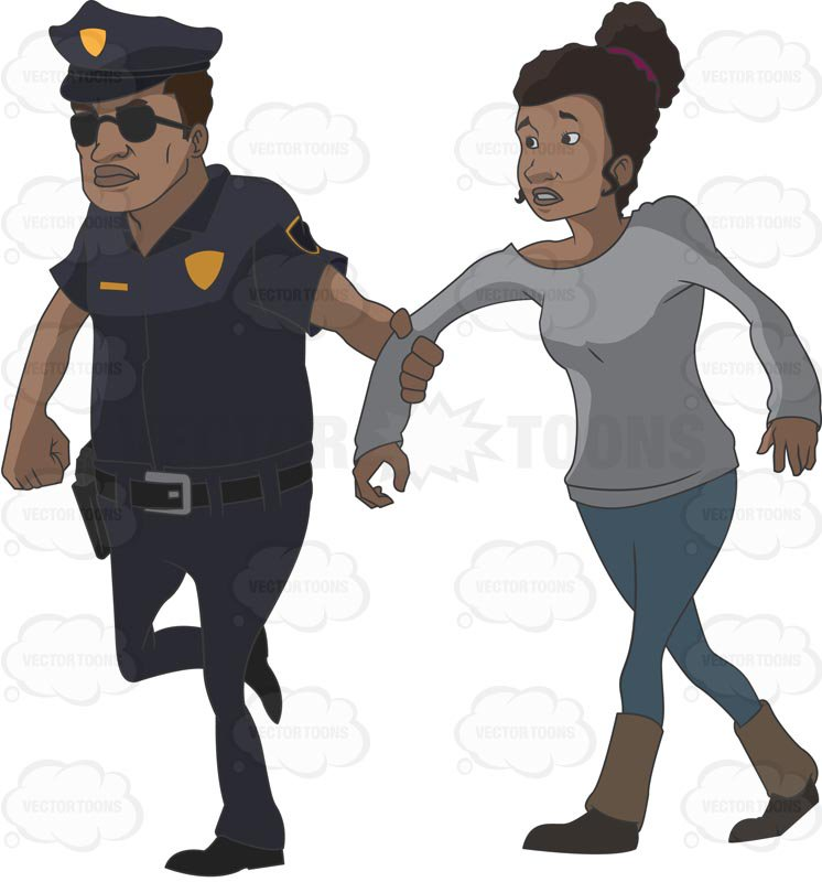 746x800 African American Police Officer Pulling On An African American