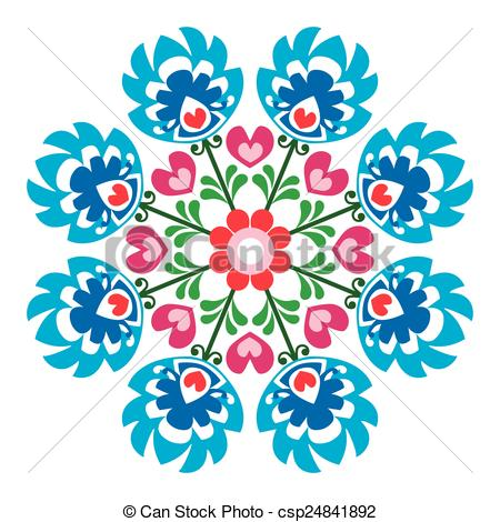 450x470 Polish Round Folk Art Pattern Decorative Floral Vector Eps