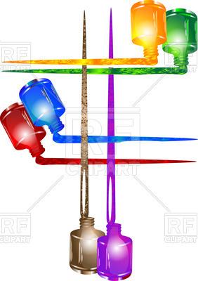 282x400 Six Colorful Nail Polish Bottles Royalty Free Vector Clip Art