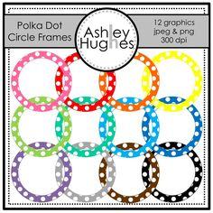 236x236 Polka Dot Scalloped Circle Frames Clip Art Set