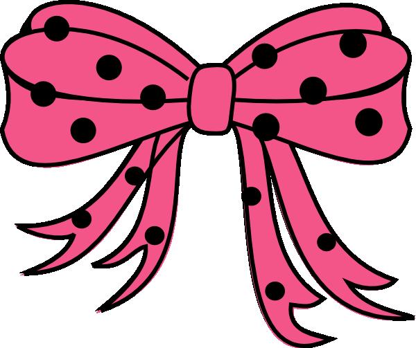 600x503 Polka Dots Bow Black Hot Pink Clip Art