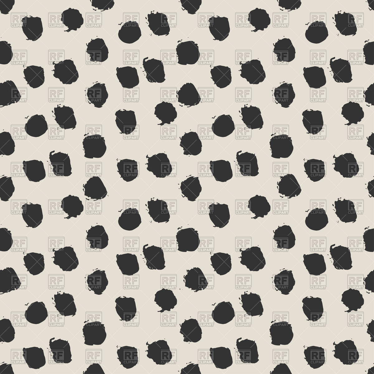 1200x1200 Seamless Ink Brush Painted Polka Dot Pattern Royalty Free Vector