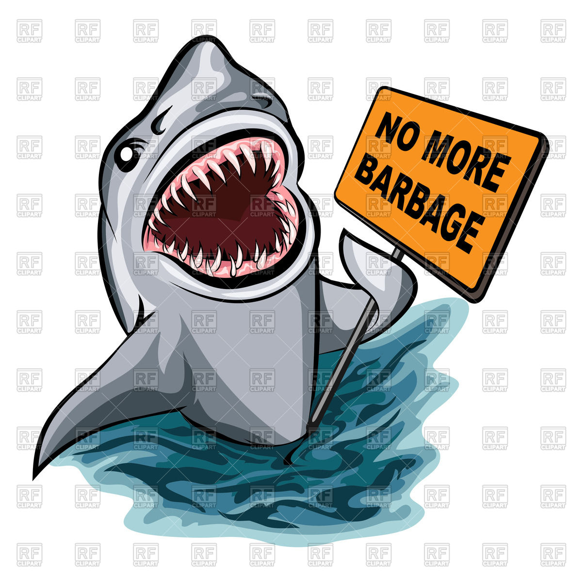 1200x1200 The Shark Voting Against Ocean Pollution And Garbage Vector Image