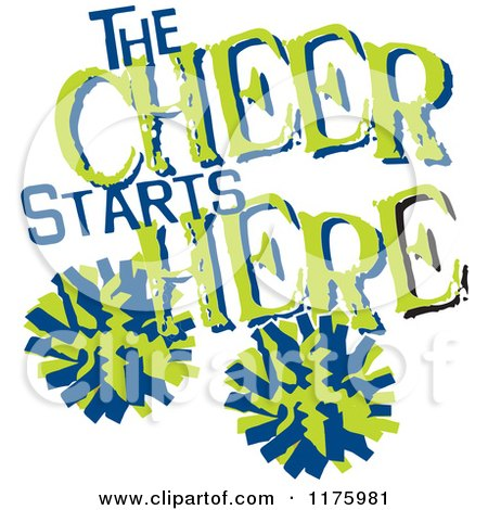450x470 Cartoon Of Green And Blue The Cheer Starts Here Text With Pom Poms
