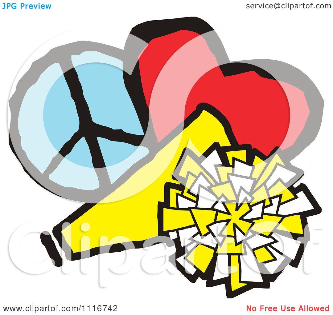 1080x1024 Vector Clipart Of A Cheerleading Megaphone Pom Pom Heart And Peace