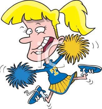 327x350 Cartoon Cheerleader With Pom Poms