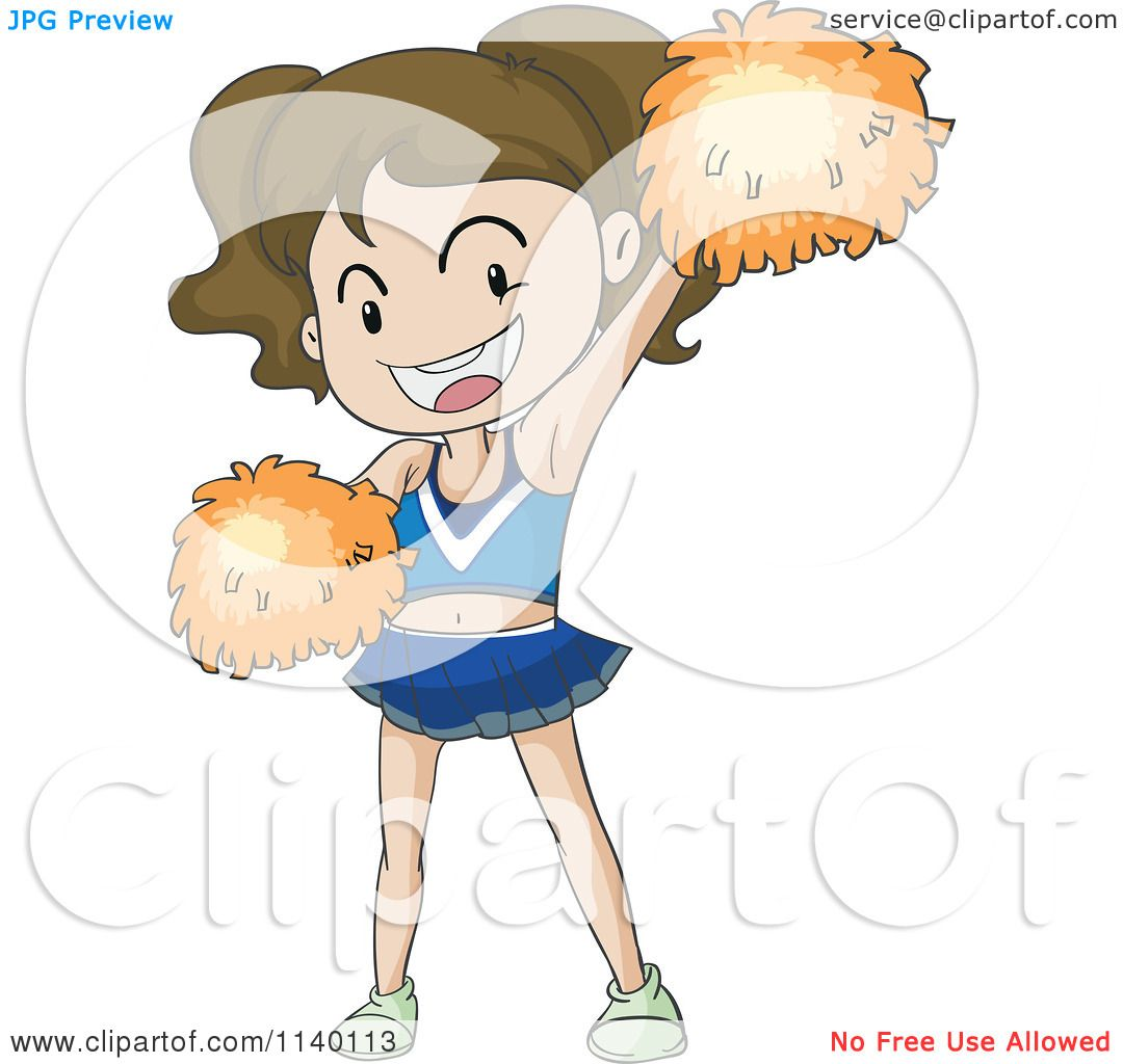1080x1024 Cartoon Of A Brunette Cheerleader With Orange Pom Poms