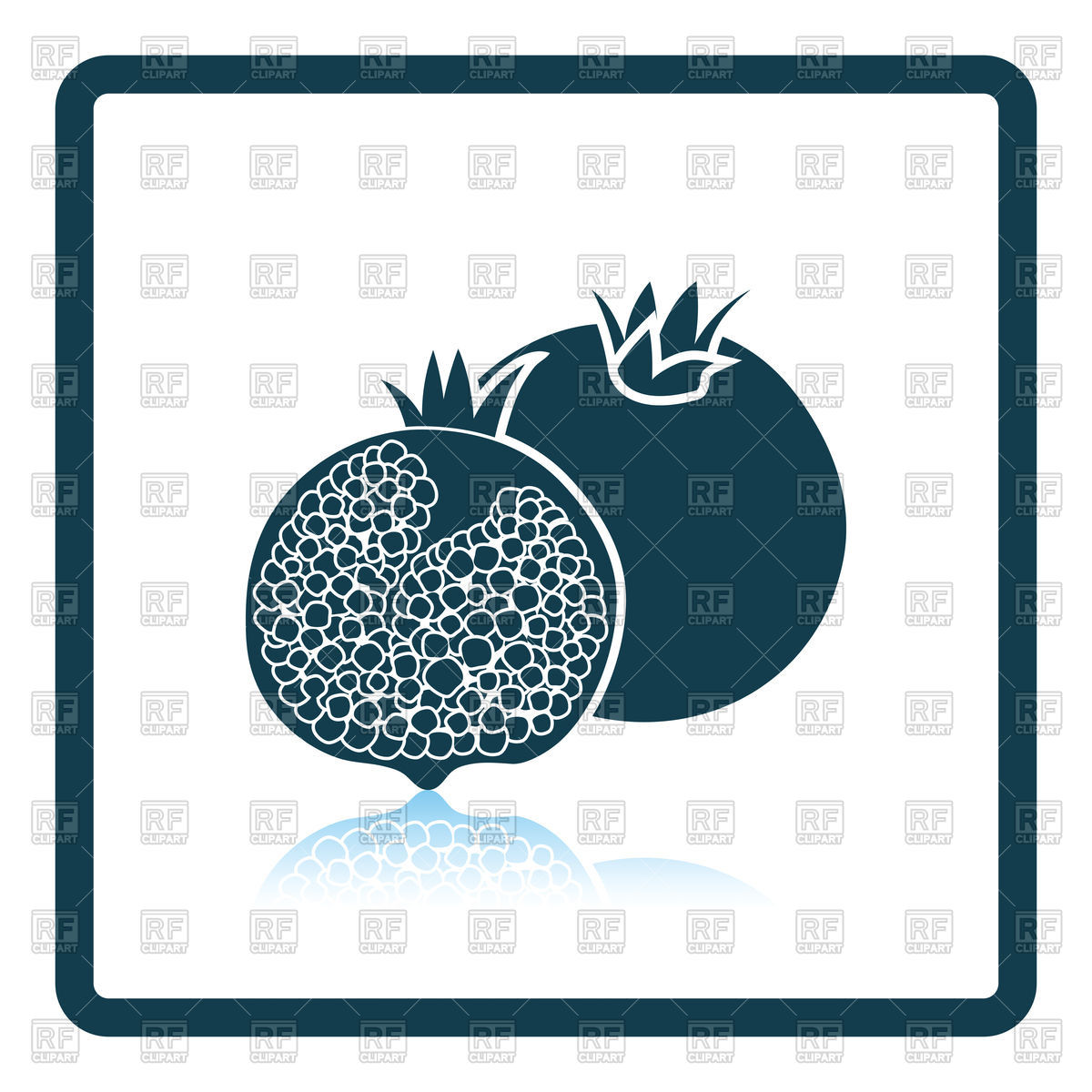 1200x1200 Shadow Reflection Design Icon Of Pomegranate Royalty Free Vector