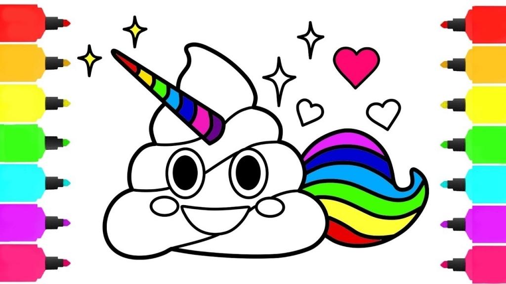 1024x576 Poop Unicorn Emoji Coloring Pages How To Draw Poop Emoji For Kids