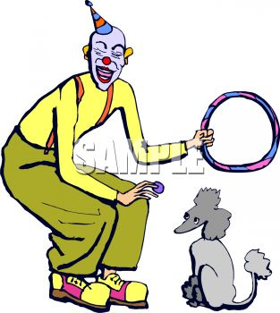 313x350 Cartoon Of A Clown With His Trick Performing Poodle
