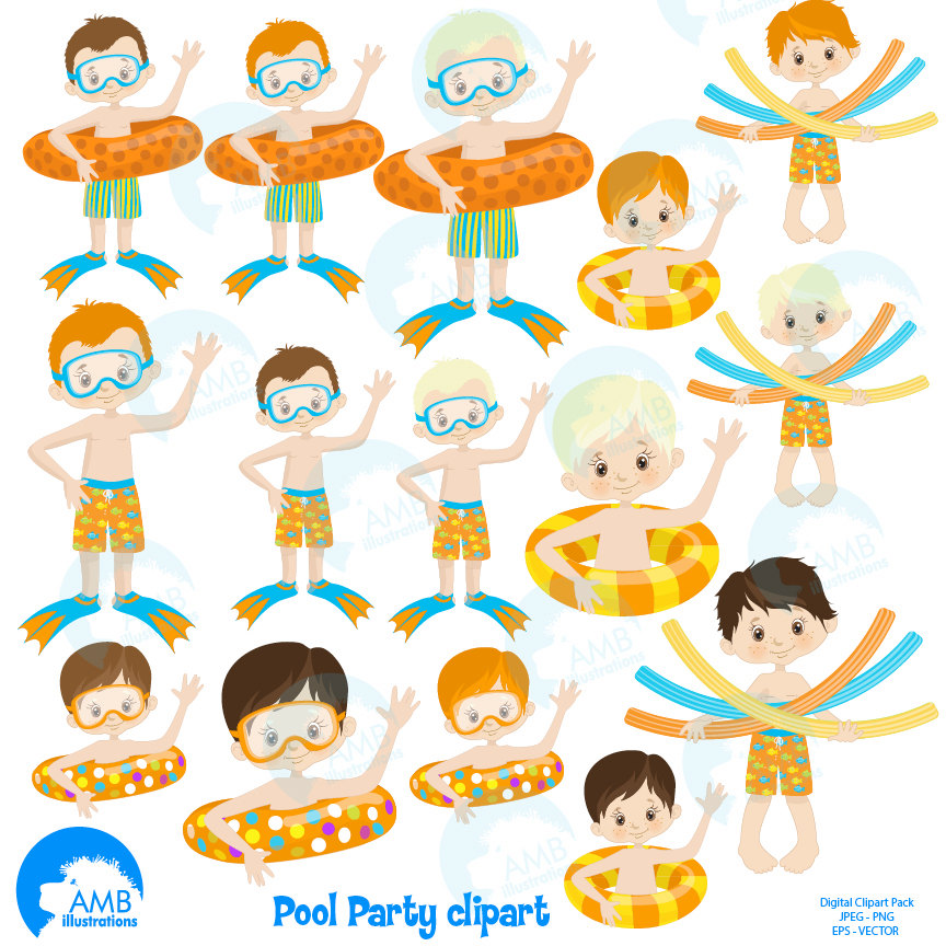 864x864 Boys Pool Party, Swimming Clipart, Pool Party, Clipart Package