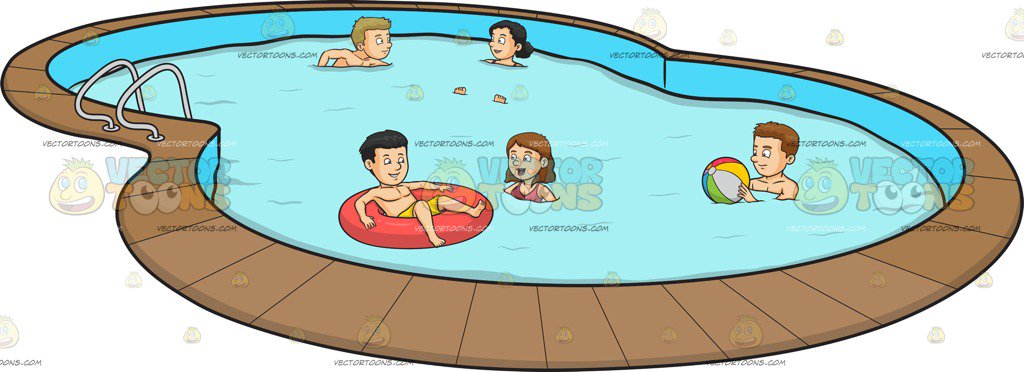 1024x372 A Group Of Friends Celebrating A Summer Pool Party Cartoon Clipart