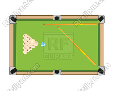 400x320 Billiard Table And Balls With Cue On White Background Is Insulated