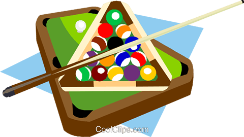 480x270 Billiard Table With Balls And Cue Royalty Free Vector Clip Art