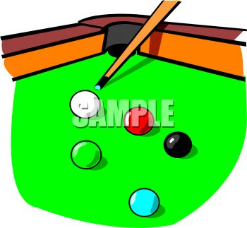 350x323 Pool Table With A Cue Stick And Balls