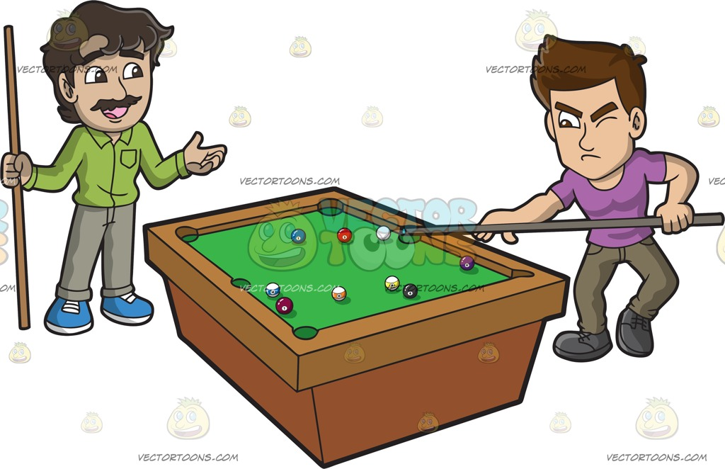 1024x662 Two Men Competing In A Game Of Pool Cartoon Clipart Vector Toons