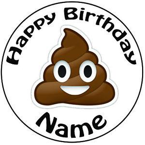 300x300 Personalised Birthday Poop Emoji Round 8 Easy Precut Icing Cake