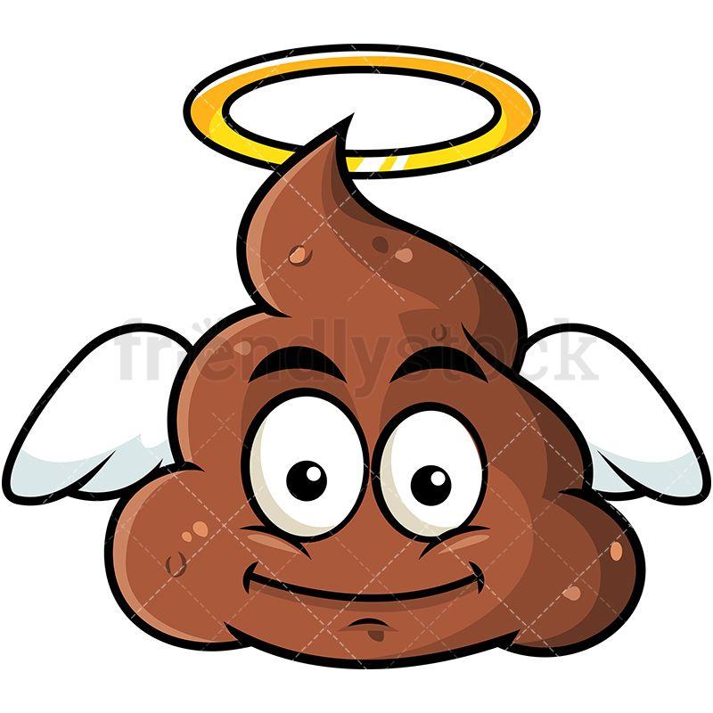800x800 Winged Angel Poop Emoji Cartoon Vector Clipart Emoji, Angel